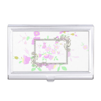Pretty Pink And Mauve Flowers Business Card Holder