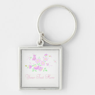 Pretty Pink And Mauve Flowers Keychain