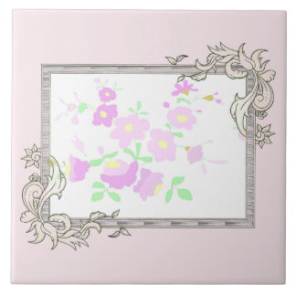 Pretty Pink And Mauve Flowers Tile