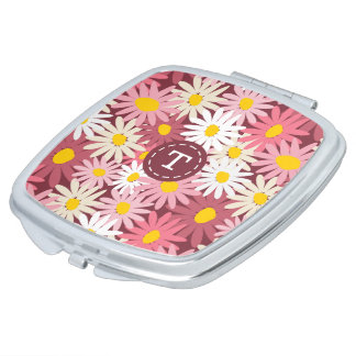 Pretty pink  and mulberry daisies monogram makeup mirror