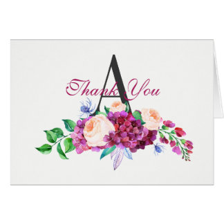Pretty Pink and Purple  Floral Thank You Monogram Card