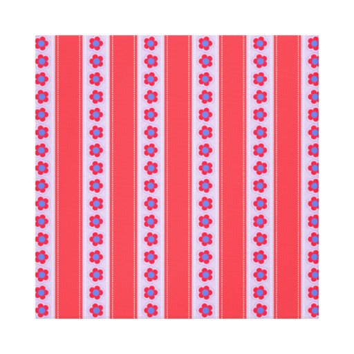 Pretty Pink and Purple Flowers and Stripes Stretched Canvas Print