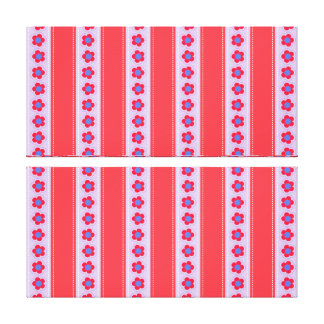 Pretty Pink and Purple Flowers and Stripes Stretched Canvas Prints