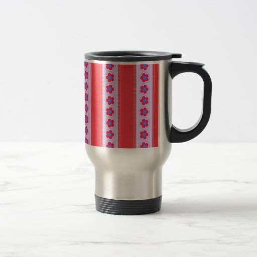 Pretty Pink and Purple Flowers and Stripes Mugs