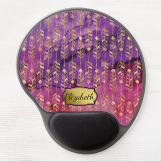 Pretty Pink and Purple Gold Feather Personalized Gel Mouse Pad