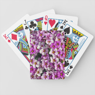 Pretty pink and purple petunias floral print bicycle playing cards