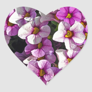 Pretty pink and purple petunias floral print heart sticker