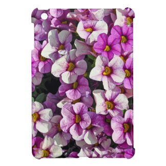Pretty pink and purple petunias floral print iPad mini cover