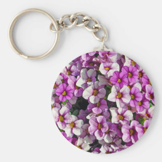 Pretty pink and purple petunias floral print keychain