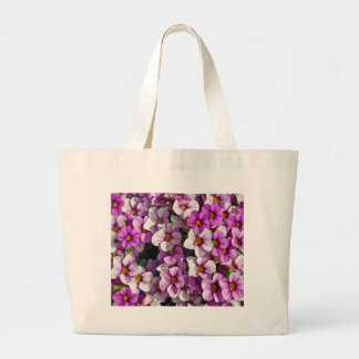 Pretty pink and purple petunias floral print large tote bag