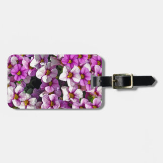 Pretty pink and purple petunias floral print luggage tag