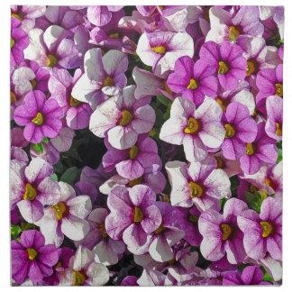 Pretty pink and purple petunias floral print napkin