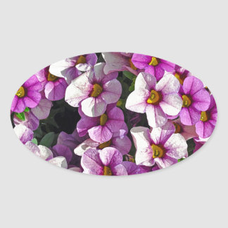 Pretty pink and purple petunias floral print oval sticker