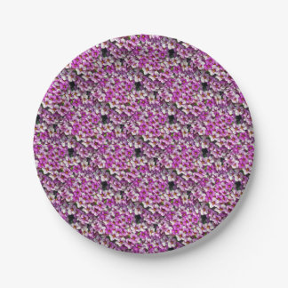 Pretty pink and purple petunias floral print paper plate