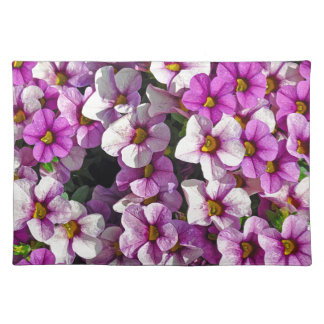 Pretty pink and purple petunias floral print placemat