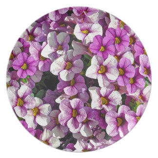 Pretty pink and purple petunias floral print plate