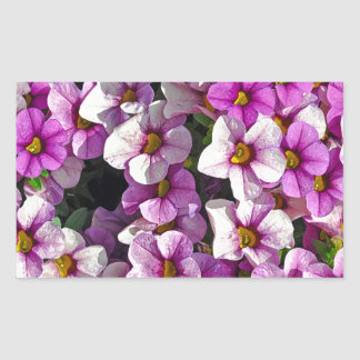 Pretty pink and purple petunias floral print sticker