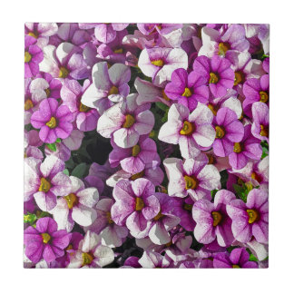 Pretty pink and purple petunias floral print tile