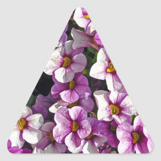 Pretty pink and purple petunias floral print triangle sticker