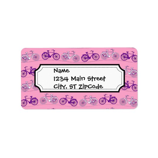 Pretty Pink and Purple Vintage Bicycle Bikes Print Label