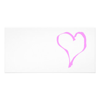 Pretty Pink and White Love Heart. Photo Card