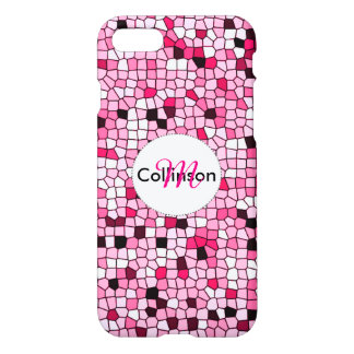 Pretty Pink and White Mosaic Design Personalized iPhone 7 Case