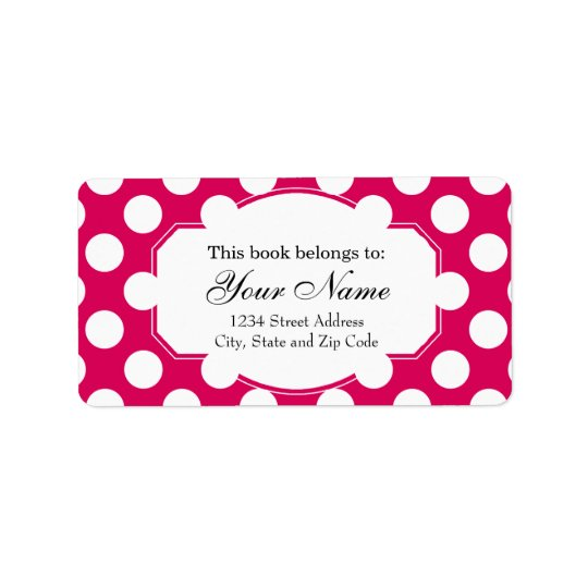Pretty Pink and White Polka Dots Pattern Label