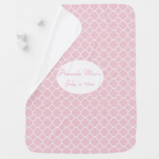 Pretty, Pink and White Quatrefoil, Custom Receiving Blankets