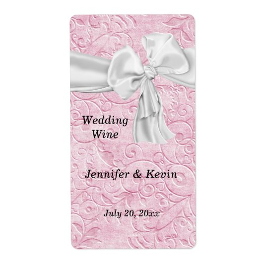 Pretty Pink and White Wedding Wine Label