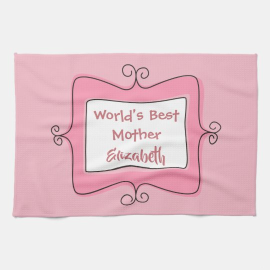 Pretty Pink and White Worlds Best Mother Kitchen Towel