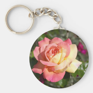 Pretty  pink and yellow rose flower.  Floral Basic Round Button Keychain