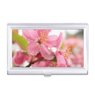 Pretty Pink Apple Blossoms Floral Photo Business Card Holder