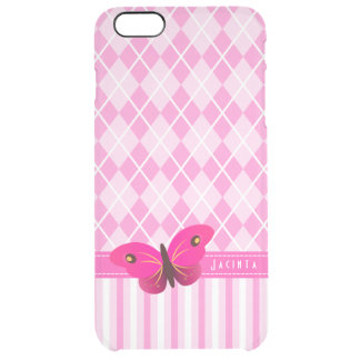 Pretty Pink Argyle Stripes Butterfly iPhone Clear iPhone 6 Plus Case