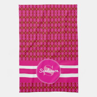 Pretty Pink Argyle w/Name Golf or Hand Towel