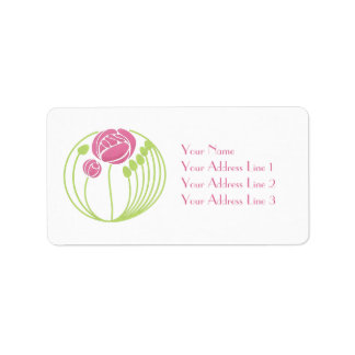 Pretty Pink Art Nouveau Roses Custom Labels