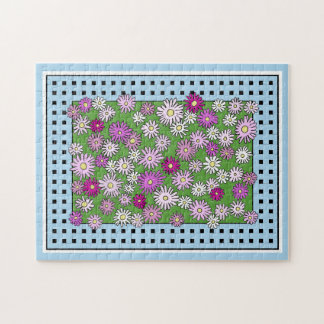 Pretty Pink Astor Flowers Jigsaw Puzzle