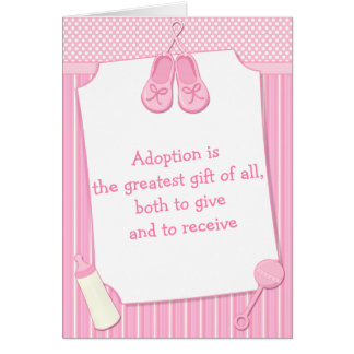 Pretty Pink Baby Girl Adoption Congratulations Card