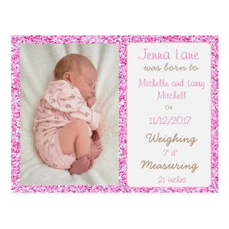 Pretty Pink Baby Girl Birth Announcement Postcard