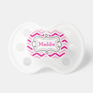 Pretty Pink Baby Girl Personalized Chevron Pattern Pacifier