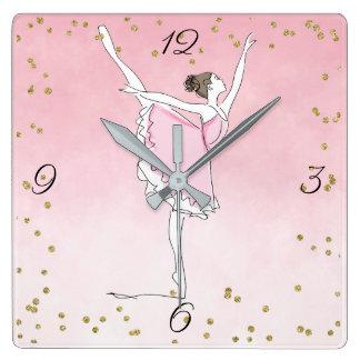 Pretty Pink Ballerina Glam Ombre Square Wall Clock