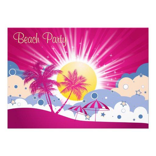 Pretty Pink Beach Party Invitation