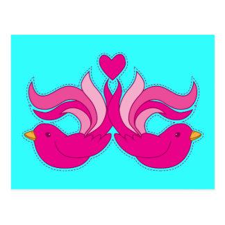 Pretty pink birdys postcard