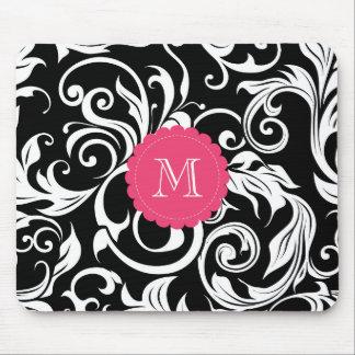 Pretty Pink Black White Monogram Floral Wallpaper Mouse Pad