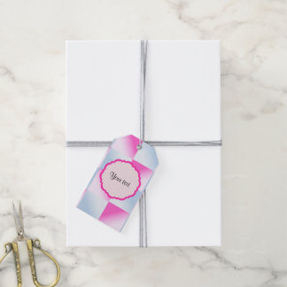Pretty Pink & Blue Gradient Squares Gift Tags