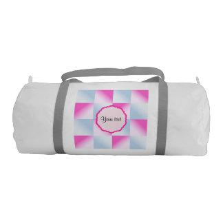 Pretty Pink & Blue Gradient Squares Gym Bag