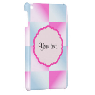 Pretty Pink & Blue Gradient Squares iPad Mini Cover