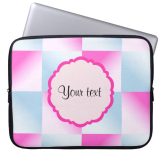 Pretty Pink & Blue Gradient Squares Laptop Sleeve