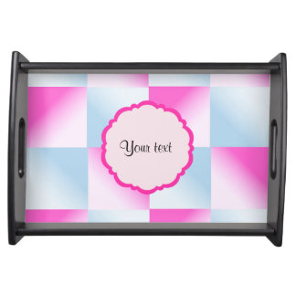 Pretty Pink & Blue Gradient Squares Serving Tray