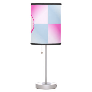 Pretty Pink & Blue Gradient Squares Table Lamp