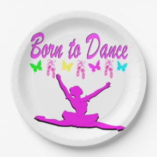 PRETTY PINK BORN TO DANCE BALLERINA DESIGN 9 INCH PAPER PLATE